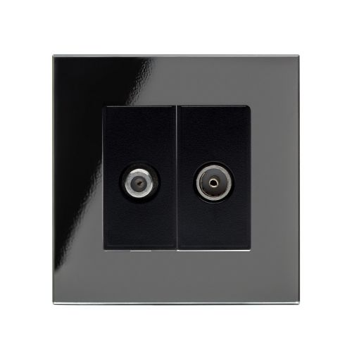 RetroTouch Crystal Satellite/TV Socket Black Glass PG 04847